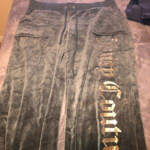 logo velour track suit pants from juicy couture
